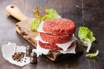 Raw Ground Beef Meat Burger Steak Cutlets And Seasonings On Dark