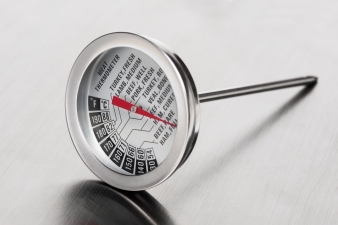 closeup meat thermometer on stainless steel, utensil in the kitchen